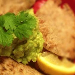 Cheese quesadillas with guacamole.