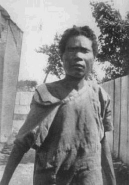 Photograph of an alleged real zombie, Felicia Felix-Mentor, photographed by anthropologist Zora Neale Hurston in 1937 while doing research in Haiti.