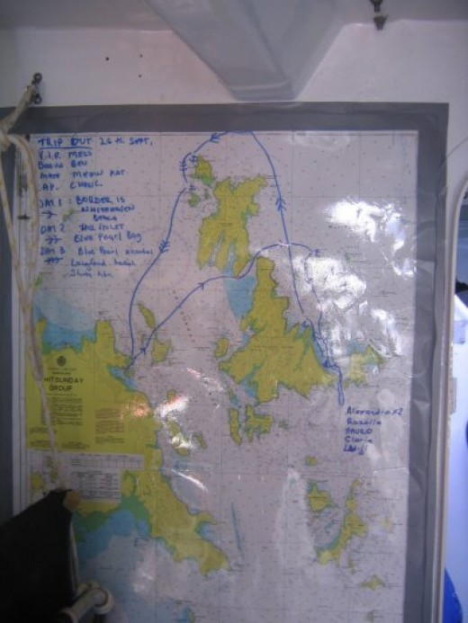 Our route through the Whitsundays