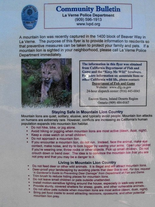 Mountain notice in La Verne, CA