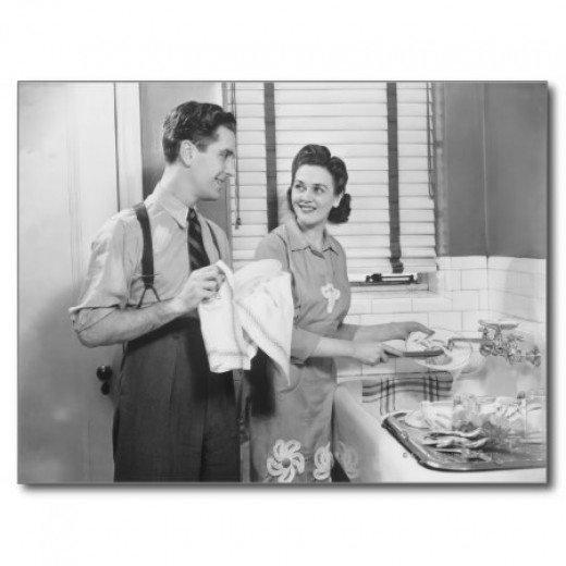 Man and Woman Doing Dishes