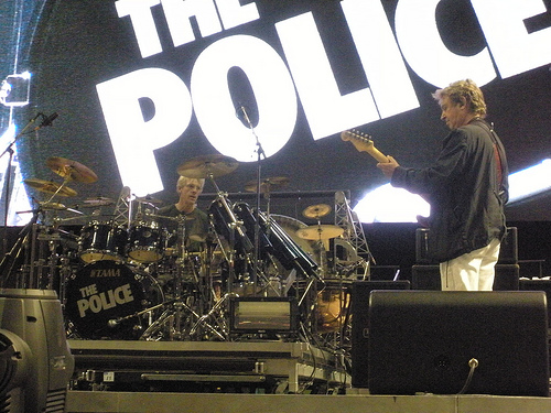 Stewart Copeland and Andy Summers during a Police soundcheck, Philadelphia 2008.