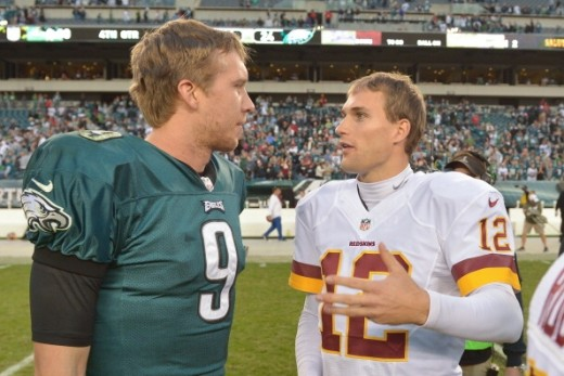 Philadelphia Eagles QB Nick Foles (L) and Washington Redskins QB Kirk Cousins