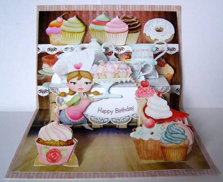 Tea shop pop up card - see below for details