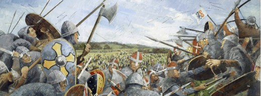 Harold's huscarls steady the shieldwall against oncoming Norman infantry and their allies