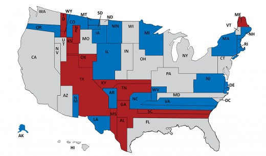 This map shows the 2014 Senate races in blue and red, with the states sized according to their population and colored based on their current occupant.
