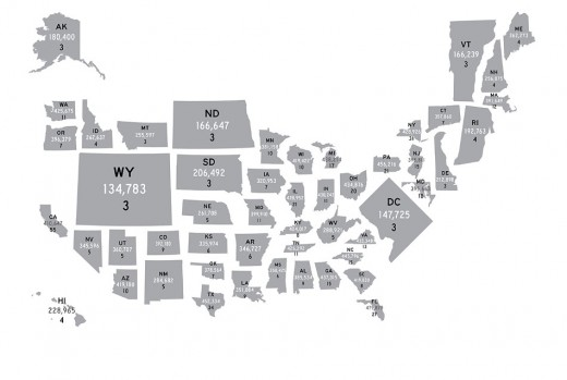 This map shows each state re-sized in proportion to the relative influence of the individual voters who live there.