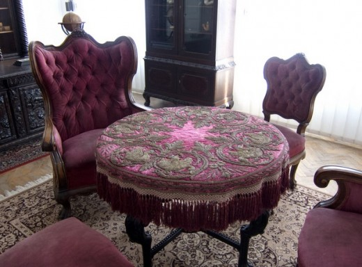 Purple table and chairs, Victorian