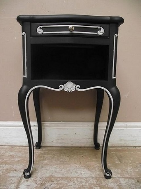 Vintage Black & White French Bedside Table