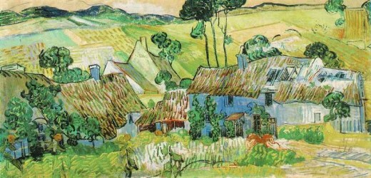 Van Gogh painting Thatched Cottages by a Hill, Auvers-sur-Oise: July, 1890. This image is in the public domain because its copyright has expired. Published before 1923 and public domain in the US.