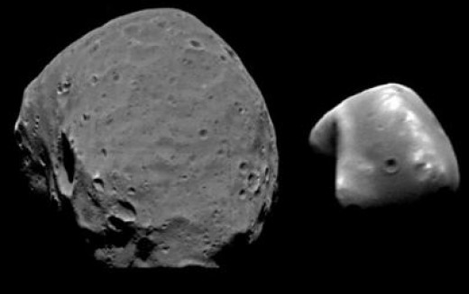 A composite image of the two moons of Mars.