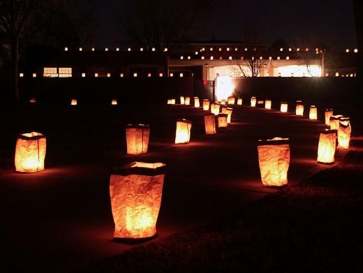 Christmas Eve luminaria (farolito) display in Albuquerque, USA