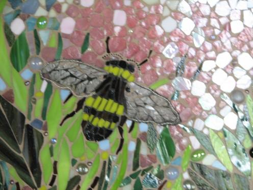 Honey Bee in the Garden, glass-on-glass
