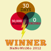 My NaNoWriMo badge from 2012.