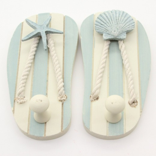 Wood Flip Flop Sandal Wall Hooks --