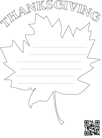 Thankfulness Leaf with Lines