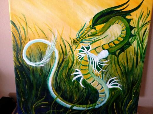 """Healing Dragon"" 12"" x 12"" acrylic on canvas"