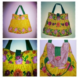 Multiple pictures of tropical tote created from a size T3 tiered dress.  Includes recycled lining/handles and magnetic closure.
