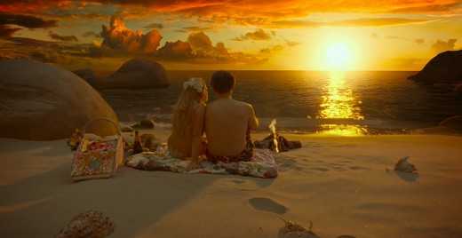 "Melanie Thierry (left) and Christoph Waltz (right) enjoy the sunset inside virtual reality in ""The Zero Theorem""."