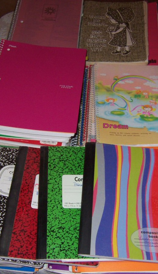 A few of my journals. This is the writing I worry about most... but I'm working on digitizing all the journals... for posterity. My kids will enjoy reading about their childhoods.