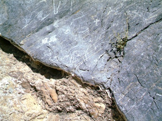 Petrograph rock art in the canyon
