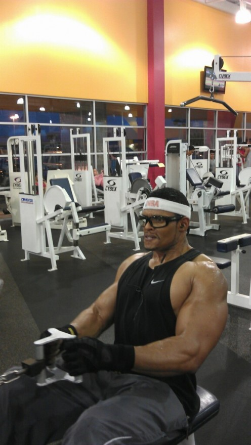 Eddie Clark, weight training at 53.  He has never used steroids and maintains a strength and health that is exceptional at his age.