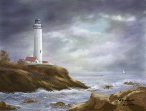 Stormy Sky Lighthouse Seascape
