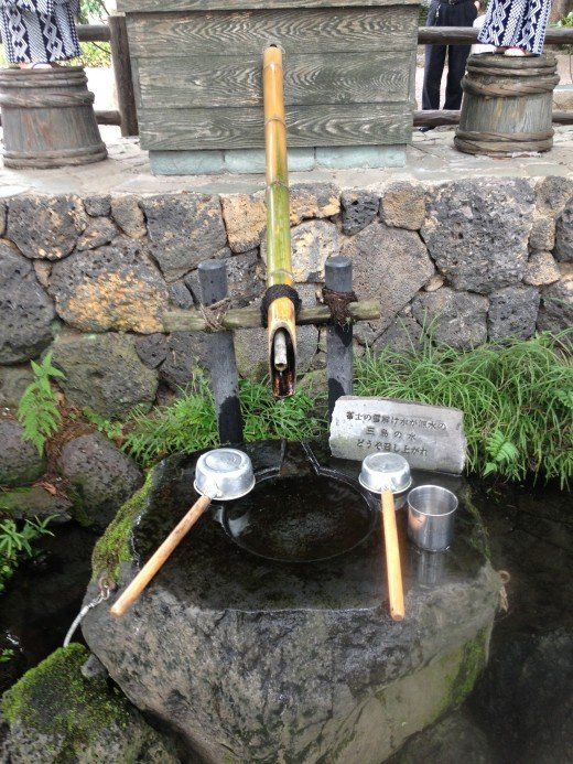 From the melted snow on top of Mt. Fuji,  It takes many years to reach Japan's natural fountains such as this one.