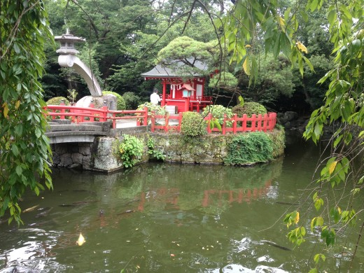 A beautiful garden on temple grounds.