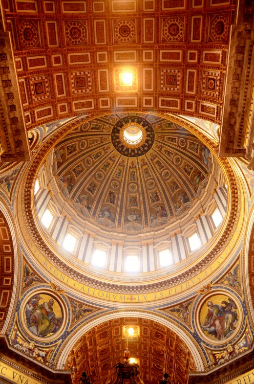 The dome of ST Peter's Basilica designed by Michelangelo.