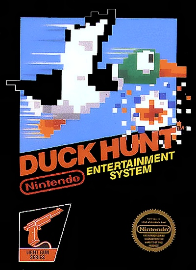 It may surprising for some people to see Duck Hunt in its own box, and on its own cartridge. It really did come this way at first, though. The game is so simple that many people figure it was just a slap-on for Super Mario Brothers cartridges.