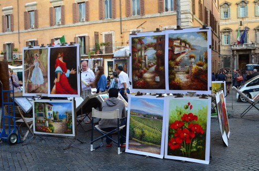 Art students selling paintings on the streets of Rome.