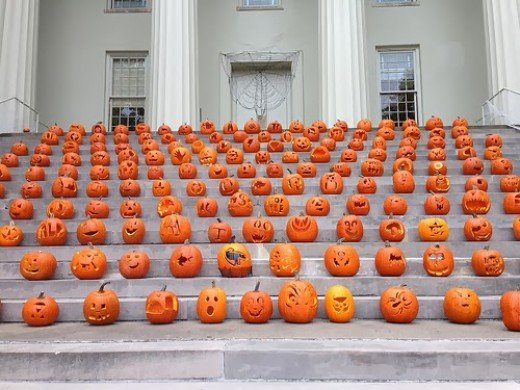 Jack-O-Lantern's on the steps of Old Morrison at Translyvania University in Lexington, Kentucky