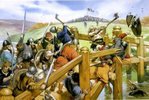 The fight on the bridge - before Harold's men could close on the Norse shieldwall they had to cross the bridge, guarded by a lone giant with a fearsomely sharp axe
