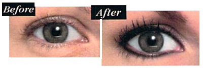 Before and after use of the eyeliner, with mascara.