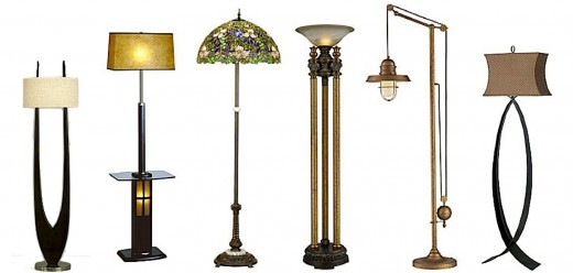 "L to R: Nova Matilda Floor Lamp, Nova Ventana Floor Lamp w/Tray, Meyda Tiffany Trillium & Violet Floor Lamp, Dimond's Athena Torchiere, Dimond Lighting Farmhouse Floor Lamp & Kenroy Home Pisces Floor Lamp. Click ""info"" icon for more."