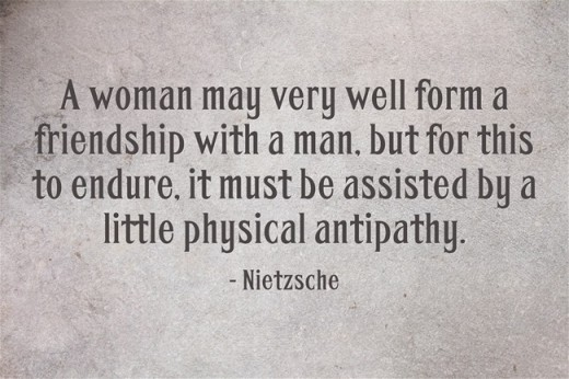 """A woman may very well form a friendship with a man, but for this to endure, it must be assisted by a little physical antipathy."" ~Nietzsche"