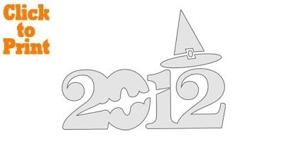 2012 Bat & Witch's Hat Pumpkin Stencil