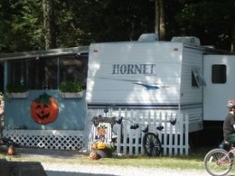 Pumpkin and Bat Decorated Camper