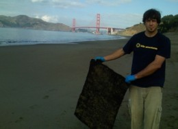 Hair mat being used at the San Francisco Bay Area Cosco-Busan Oil Spill