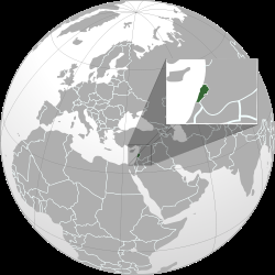Map showing Lebanon's location