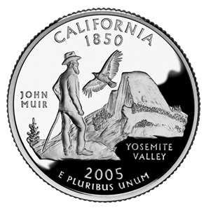 California's State Quarter features John Muir admiring the Half Dome in Yosemite Valley as a California condor soars through the sky