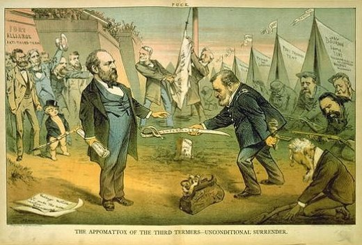 After Grant was defeated for the nomination, this cartoon was published showing Grant giving up his sword to Garfield just like Robert E. Lee gave up his sword at Appomattox.
