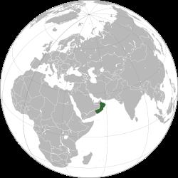 Map showing Oman