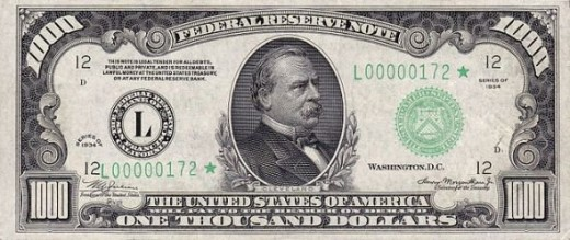 Grover Cleveland on the $1,000 bill