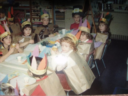 Here I am (with brown hair facing the camera) in my Kindergarten Thanksgiving Feast ensemble.