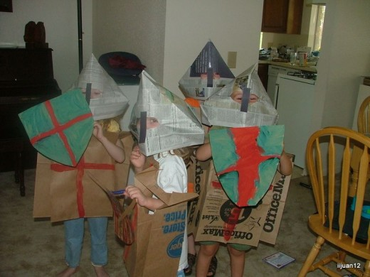The kids created armor out of cardboard and newspaper.