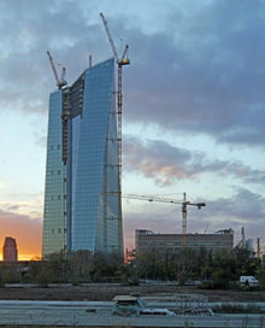 ECB Headqurters Under Construction in Frankfurt Germany