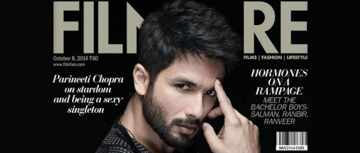 Bollywood actor Shahid Kapoor graces the October issue of Filmfare magazine. The 33-year-old star is seen wearing a black Armani suit on the cover. Isn't he looking absolutely dapper?