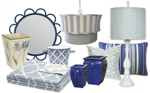 "Left to right: Blue Tulip Wastebasket , Abby Mirror, Eco Reversible Morocco Throw, Indigo Cachepot, Cabana Blue Pendant, Pair of Medallion Planters, Robins Egg Blue Pod Pillow, Blue Stripe Pillow, and Dusty Blue Round Lamp. Click ""i"" for source."